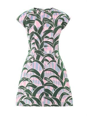 Leaves jacquard fitted dress