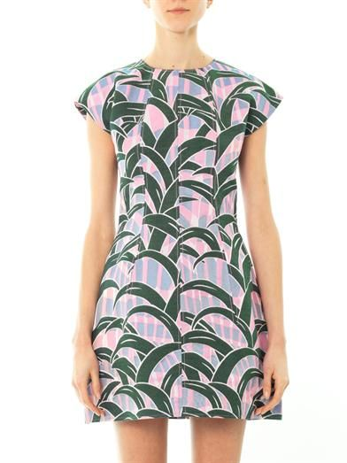 Kenzo Leaves jacquard fitted dress
