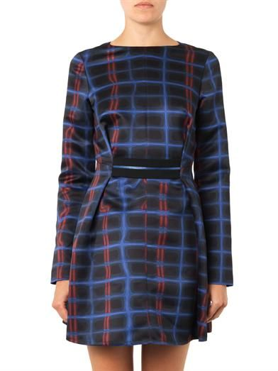 Kenzo Neon-plaid print dress