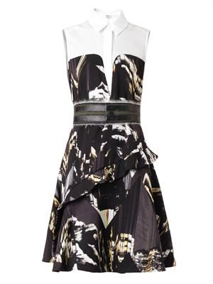 Mountains-print collared dress