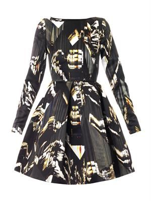 Mountains-print double-twill dress