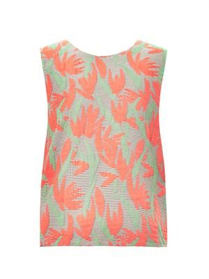 Palm-jacquard sleeveless top