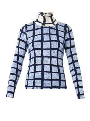 Grid-print roll-neck sweater
