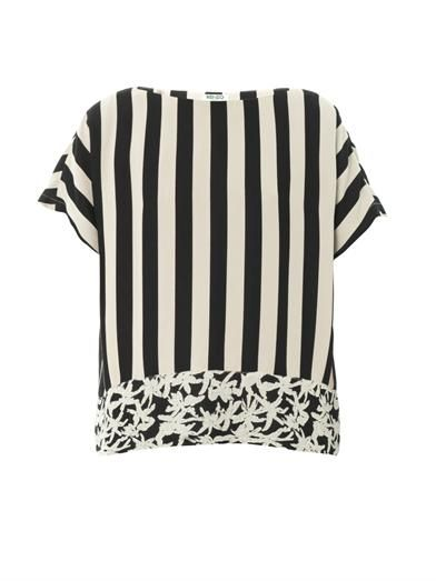 Kenzo Stripe and palm tree-print crepe blouse