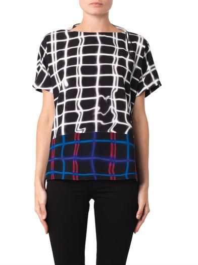 Kenzo Neon plaid-print blouse
