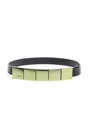 Mirrorred-metal and leather belt