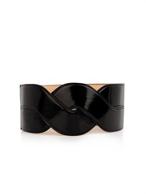 Cable-twist leather waist belt