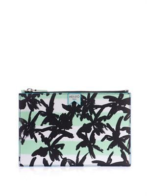 Palm and stripe-print pouch