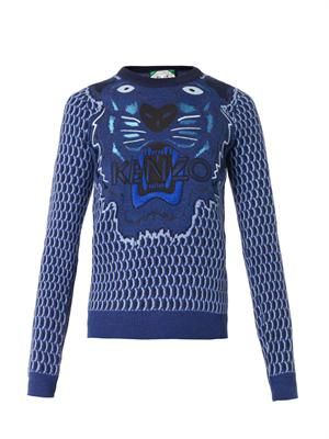 Tiger-embroidered wool sweater