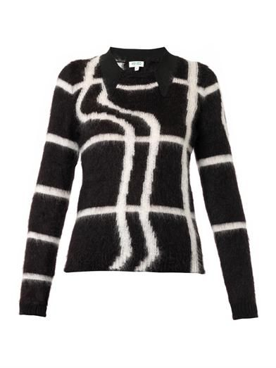 Kenzo Neon-plaid mohair-blend sweater