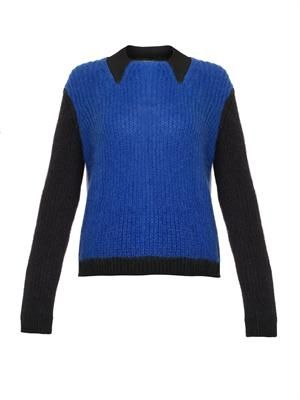 Colour-block mohair-blend sweater