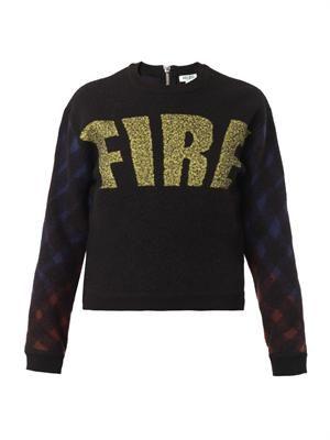 Fire-motif boiled-wool sweater