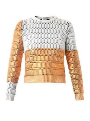 Metallic lacquered wool sweater