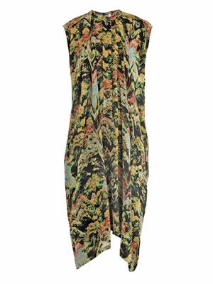 Forest-print hammered-satin dress