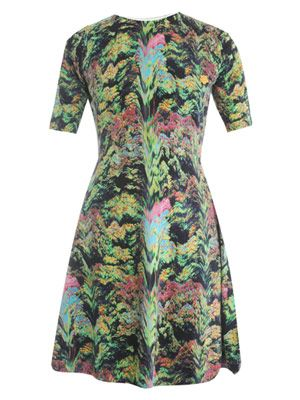 Forest-print knitted dress