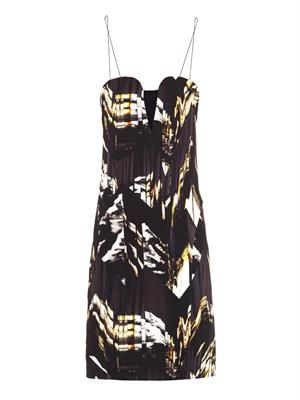 Mountains-print strapless dress