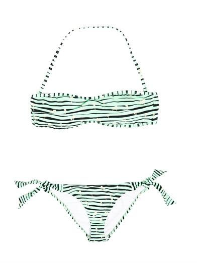 Kenzo Vintage palm and stripe print bandeau bikini