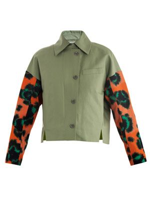 Leopard-sleeve jungle-logo jacket