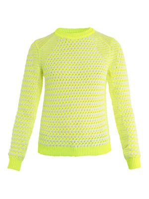 Neon basket-weave sweater