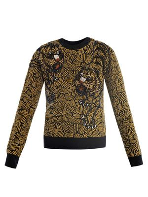 Tiger embroidered jacquard knitwear