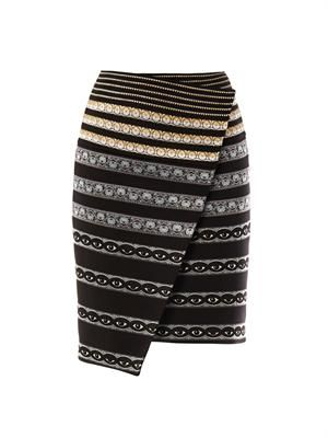 Ribbon-embroidered neoprene skirt