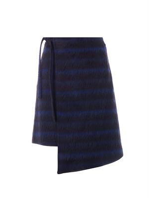 Brushed stripe wrap skirt