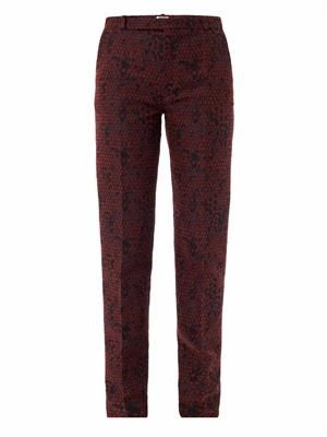 Dragon scales jacquard trousers