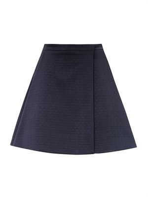Checked jacquard A-line skirt
