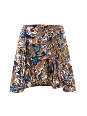 Tiger-print silk skirt