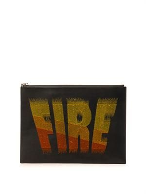 Fire-flocked leather pouch