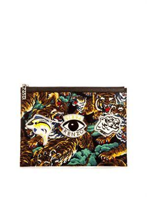 Tiger-print pouch