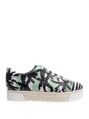 Palm and stripe-print flatform trainers