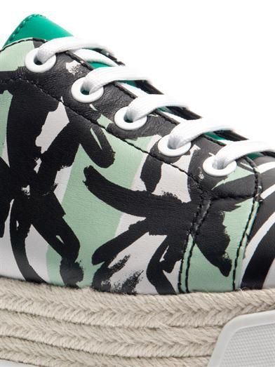 Kenzo Palm and stripe-print flatform trainers