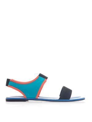 Neoprene and suede sandals