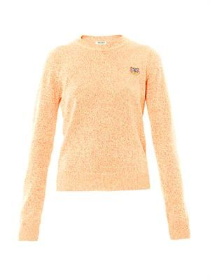 Chest logo melange-knit sweater