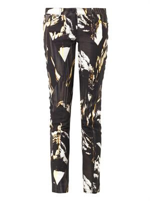 Mountains-print mid-rise skinny jeans