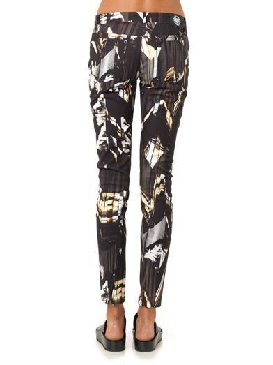 Kenzo Mountains-print mid-rise skinny jeans