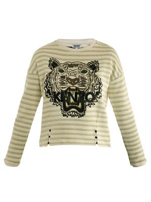 Tiger embroidered stripe sweater