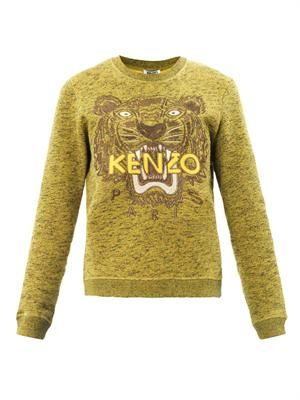 Tiger embroidered marl sweatshirt