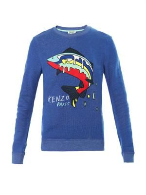 Fish-embroidered cotton sweatshirt