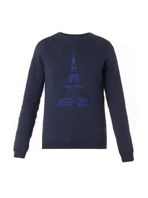 Eiffel Tower-embroidered sweatshirt