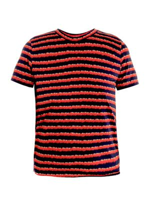 Furry stripe-print T-shirt