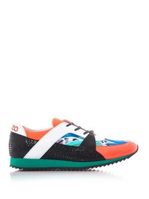 Colour-block embossed-leather trainers