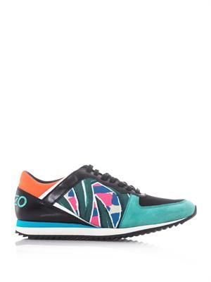 Colour-block palm-print trainers