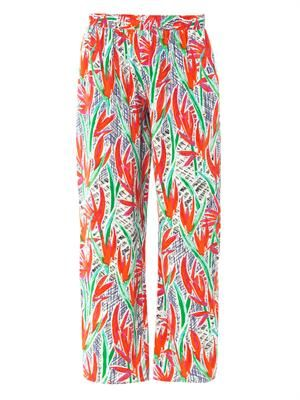Cubic palm-print silk trousers