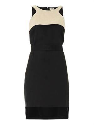 Belted mesh-panel dress