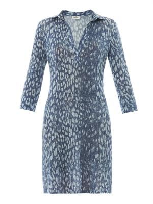 Indigo leopard-print jersey dress