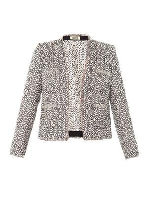 Peony jacquard collarless jacket