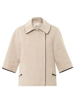 Linen faux-leather trim jacket