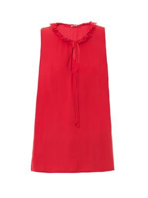 Ruffle collar sleeveless blouse
